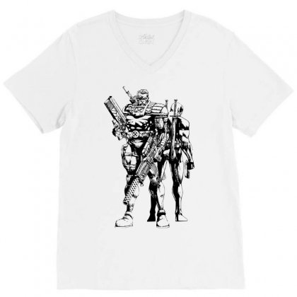 Cable And Deadpool V-neck Tee Designed By Sbm052017