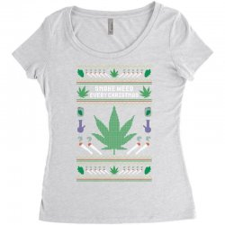 smoke weed ugly sweater Women's Triblend Scoop T-shirt | Artistshot