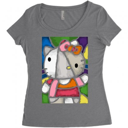 Hello Picasso Kitty Women's Triblend Scoop T-shirt Designed By Mdk Art