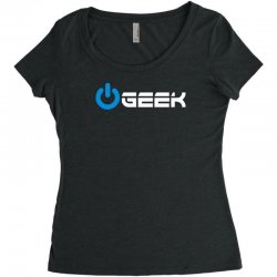 geek' (power on button) Women's Triblend Scoop T-shirt | Artistshot
