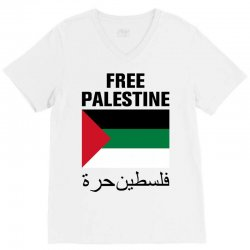 Free Palestine with Flag V-Neck Tee | Artistshot