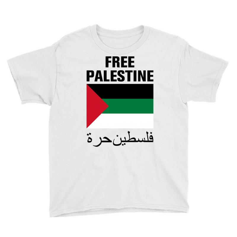 Free Palestine With Flag Youth Tee | Artistshot