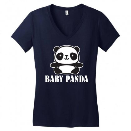 Baby Panda Women's V-neck T-shirt Designed By Ofutlu