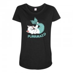 funny purr maid cat mermaid Maternity Scoop Neck T-shirt | Artistshot