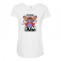 funny gym sloth the goonies fitness t shirt vectorized Maternity Scoop Neck T-shirt | Artistshot