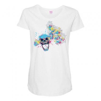 Cmyk Bang Skull Maternity Scoop Neck T-shirt Designed By Specstore