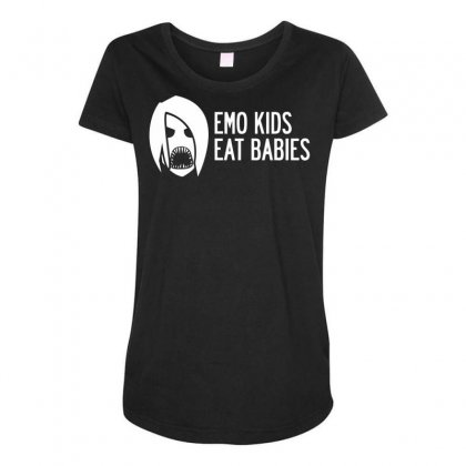 Emo Kids Eat Babies Maternity Scoop Neck T-shirt Designed By Specstore