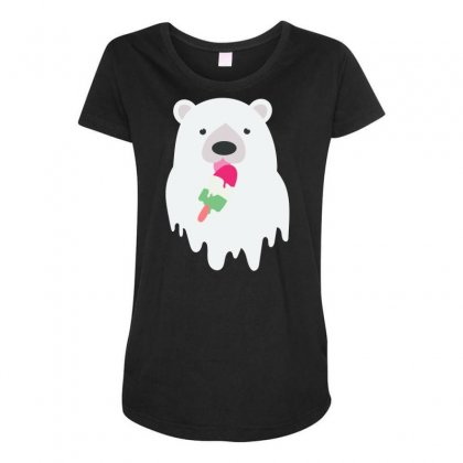 Melted Polar Cream Maternity Scoop Neck T-shirt Designed By Specstore