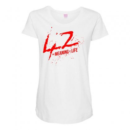 42 The Meaning Life Maternity Scoop Neck T-shirt Designed By Specstore