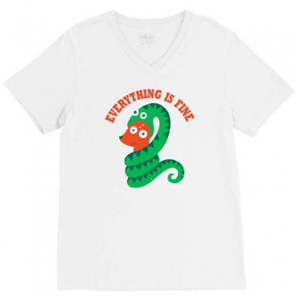 Everything Is Fine V-neck Tee Designed By Monzart