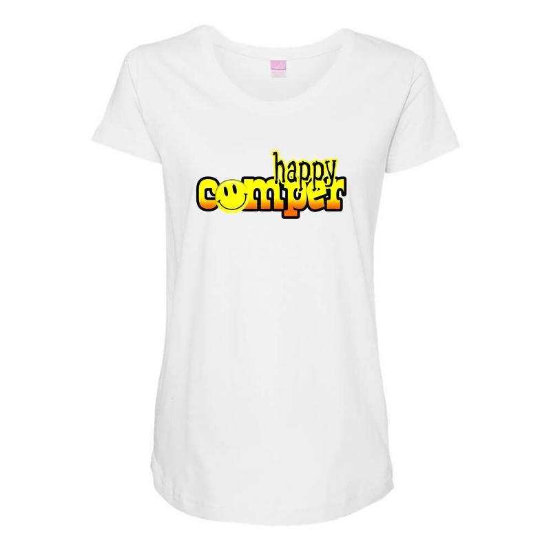 b0a69afe Custom Personalized Happy Camper Maternity Scoop Neck T-shirt By Mdk ...