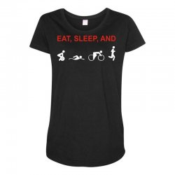 eat, sleep & train triathlon sports, gym, athletic Maternity Scoop Neck T-shirt | Artistshot