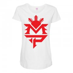 manny pacquiao red mp logo boxer sports Maternity Scoop Neck T-shirt | Artistshot