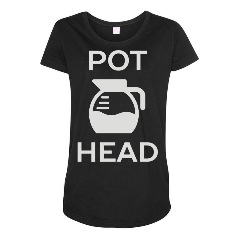 840b5880260 Custom Pot Head Coffee Lover Maternity Scoop Neck T-shirt By Mir Art ...