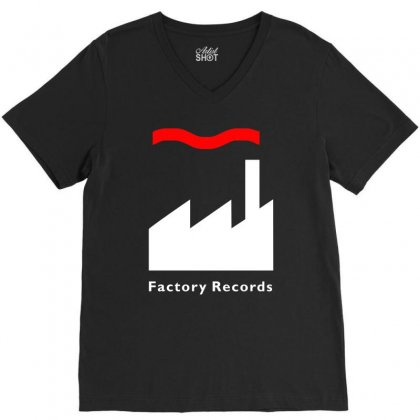 Factory Records   Retro Record Label   Mens Music V-neck Tee Designed By Hendada