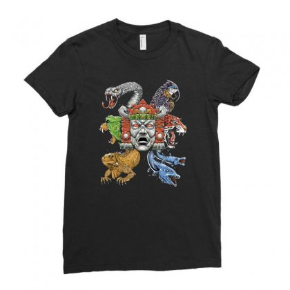 Hidden Temple Ladies Fitted T-shirt Designed By Monzart