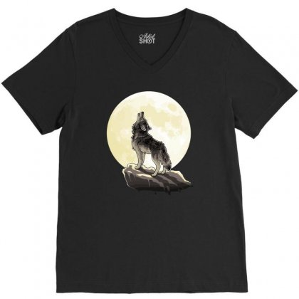 Howl At The Moon V-neck Tee Designed By Monzart