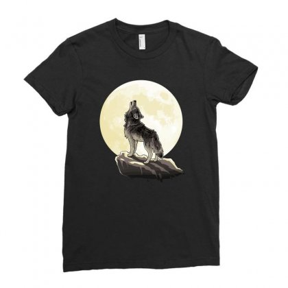 Howl At The Moon Ladies Fitted T-shirt Designed By Monzart