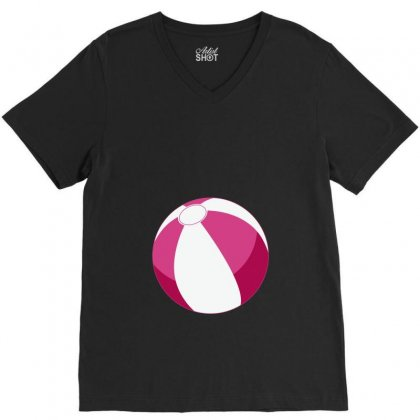 Pink Beachball Baby Girl V-neck Tee Designed By Ofutlu