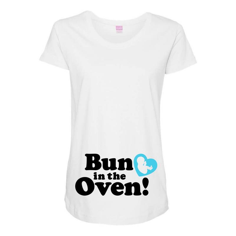 Bun In The Oven With Heart Baby Boy Maternity Scoop Neck T-shirt  By  Artistshot