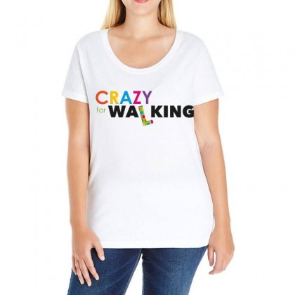 Crazy For Walking Ladies Curvy T-shirt Designed By Love