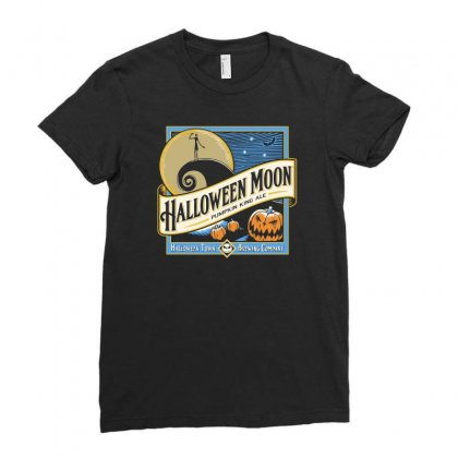 Halloween Moon Ladies Fitted T-shirt Designed By Mash Art