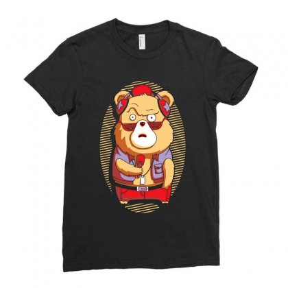Brown Bear Ladies Fitted T-shirt Designed By Ronz Art
