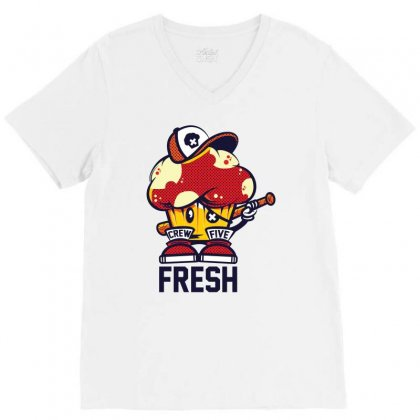 Crew Five Fresh V-neck Tee Designed By Ronz Art