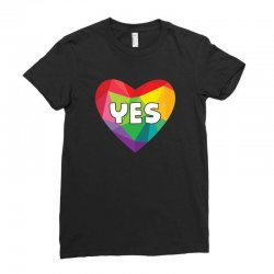 Yes Lgbt Heart Ladies Fitted T-Shirt | Artistshot