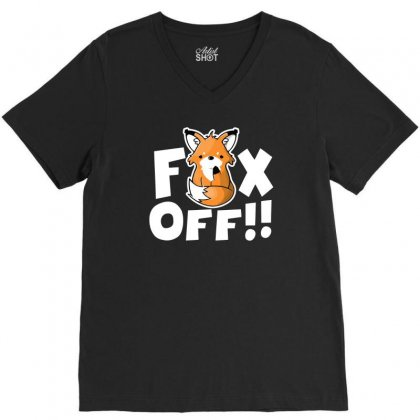 Fox Off V-neck Tee Designed By Ronz Art