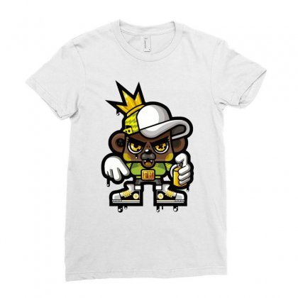 Hop Hop Bear Ladies Fitted T-shirt Designed By Ronz Art