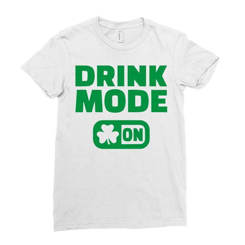 662109218e Custom Drink Mode On (2) Ladies Fitted T-shirt By Firstore - Artistshot