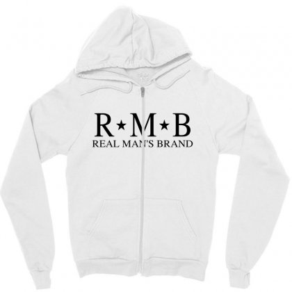 Rmb Real Man's Brand [black Logo] Zipper Hoodie Designed By Realmansbrand