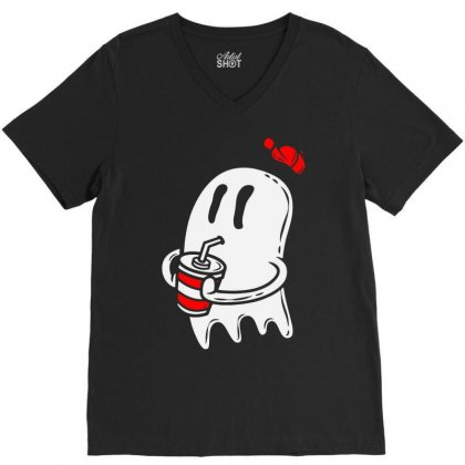 Soda Ghost V-neck Tee Designed By Firstore