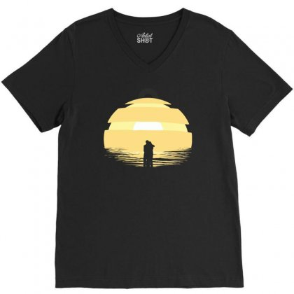 Two Rogues At The End Of The World V-neck Tee Designed By Ronz Art