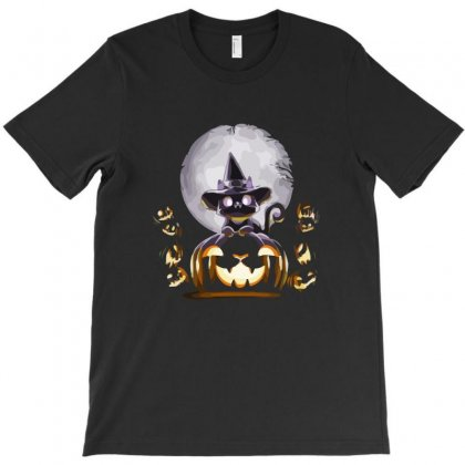Witch Cat Night T-shirt Designed By Ronz Art
