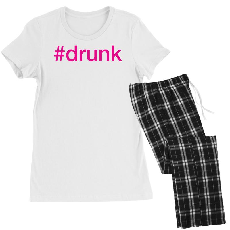 2cbdb6b37b Custom #drunk Hashtag Neon Pink Women's Pajamas Set By Mdk Art - Artistshot