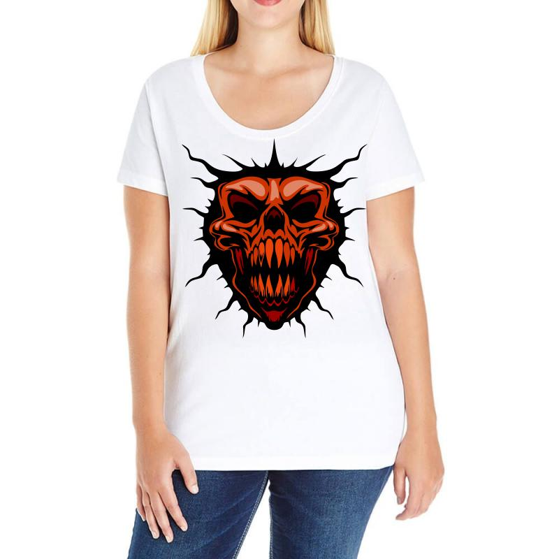 Evil Face Ladies Curvy T-shirt | Artistshot
