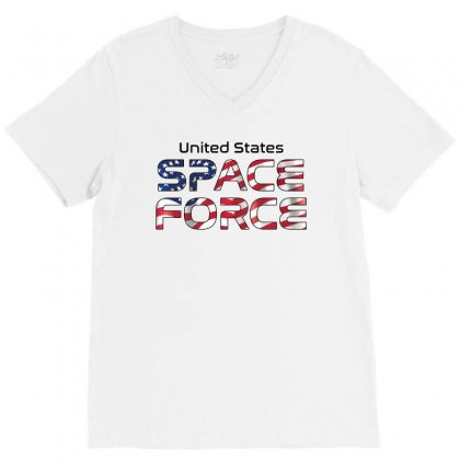 United States Space Force American Flag V-neck Tee Designed By Bigdlab