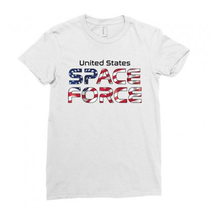 United States Space Force American Flag Ladies Fitted T-shirt Designed By Bigdlab