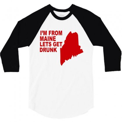 Funny Maine State 3/4 Sleeve Shirt Designed By Blackacturus