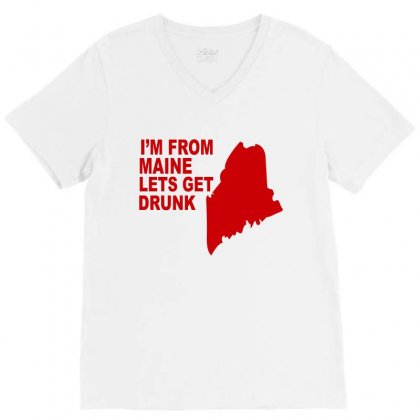 Funny Maine State V-neck Tee Designed By Blackacturus