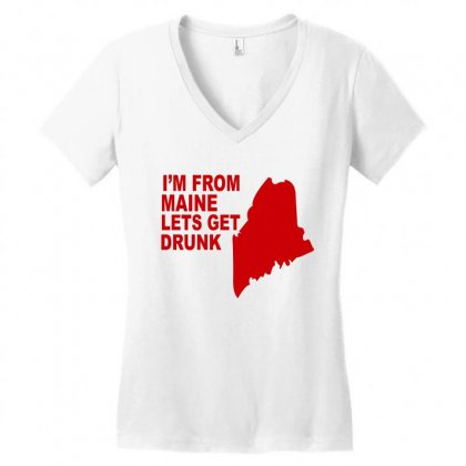 Funny Maine State Women's V-neck T-shirt Designed By Blackacturus