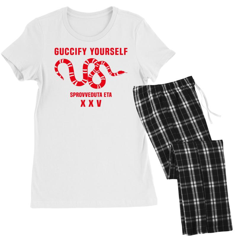 6d8b6fc5a Custom Guccify Yourself White Black Red Women's Pajamas Set By Akin -  Artistshot
