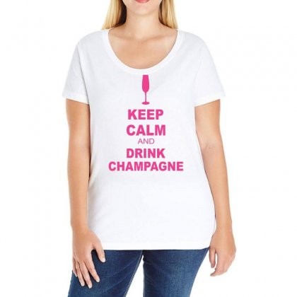 Keep Calm And Drink Champagne Ladies Curvy T-shirt Designed By Blackacturus