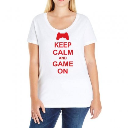 Keep Calm And Game On Ladies Curvy T-shirt Designed By Blackacturus