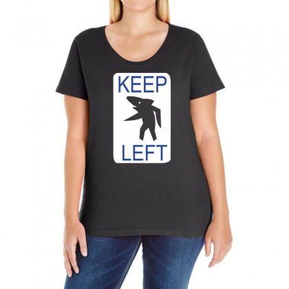 Keep Left Shark Ladies Curvy T-shirt Designed By Blackacturus