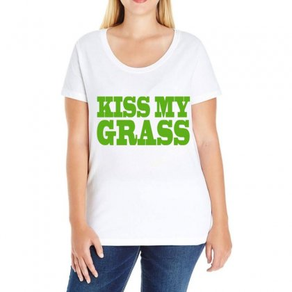 Kiss My Grass Ladies Curvy T-shirt Designed By Blackacturus