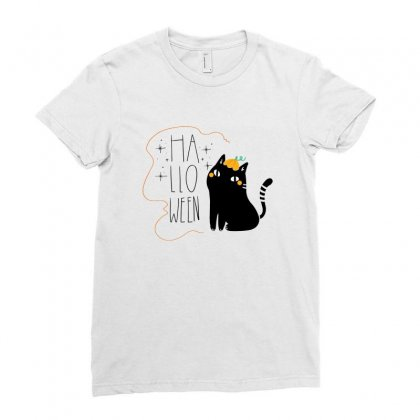 Halloween Cat Ladies Fitted T-shirt Designed By Bigdlab
