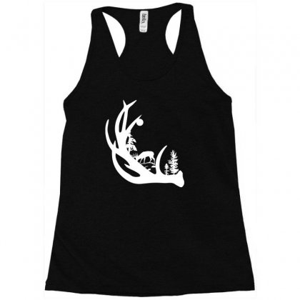 Deer Antler With Buck Forest Racerback Tank Designed By Satrio Art